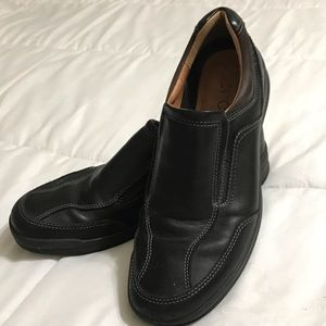 Ecco Dark Brown Leather Slip On Dress Shoes